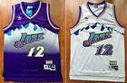 John Stockton #12 Utah Jazz 84-85 Rookie Throwback Jersey - Purple / White