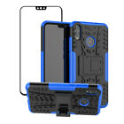 For Huawei Honor 8X 7X/Mate SE Shockproof Hybrid Kickstand Case + Tempered Glass