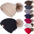 Kyпить Women Warm Winter Wool Knitted Beanie Large Fur Pom Bobble Hat Knitted Ski Cap на еВаy.соm