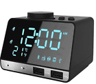 Digital LED Alarm Clock Bluetooth Dual USB Charging Snooze Radio Alarm Clock