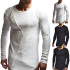 Men Slim Fit Crew Neck Long Sleeve Muscle Tee Casual Basic T-shirt Ripped Tops image