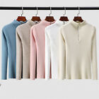 Fashion Women Zipper Sweater Solid Knitted Pullovers Long Sleeve Casual Tops