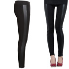 Wet Leather Look Shiny Side Panel PVC Stretch Black Leggings Size  Womens