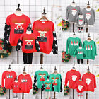 Family Matching Adult Kids Christmas Jumper Sweater Vintage Pullover Xmas Gifts