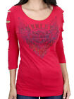 Harley-Davidson Ladies Furious Wings Sparkling Red 3/4-Sleeve Slashed T-Shirt $14.99 USD on eBay