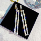 Long Geometric Drop Dangle Earrings Rhinestone Ear Studs Women Gift Jewelry UK
