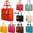 Fashion girls handbags leather shoulder bag candy color flowers totes NEW image