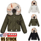 Womens Padded Down Coat Bubble Puffer Jacket Thick Fur Collar Hooded Short Parka