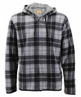 Men's Casual Flannel Zip Up Fleece Lined Plaid Sherpa Hoodie Lightweight Jacket