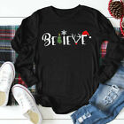 Women Plus Christmas Cartoon Letter Long Sleeve Tops Pullover Blouse T Shirt Tee