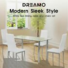 【20%OFF $108+】4/5PC Indoor White Dining Set Kitchen Table & Chairs Glass Table