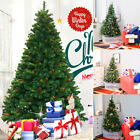 3-8ft Artificial Christmas Frosted Tree Xmas Spruce Berry Pine Cone Iron Base UK