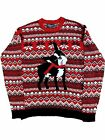 Mens Red Knit Boston Terrier Dog Ugly Christmas Sweater Holiday