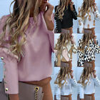 1pc Women's Blouses Metal Buttoned Detail Printed Long Sleeve Tops Office Shirts