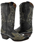 Womens Black Cross Wings Studded Rhinestone Cowboy Boots Real Leather Snip Toe