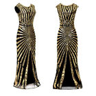 1920s Vintage Glitter Sheer Maxi Dress Women Ladies Club Party Gown Ball Dresses