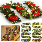 2.7M Christmas Garland Pine Wreath LED Fairy String light Fireplace Stair Decor