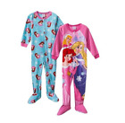 Disney Princess 2T Toddler Girl 2-pk Footed Blanket Pajamas PJs Pink Fleece