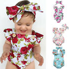 Newborn Infant Baby Girl Floral Romper Headband Jumpsuit Bodysuit Clothes Outfit