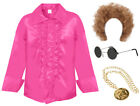ADULTS 1970S DISCO RUFFLE SHIRT 60S PARTY FRILLY NIGHT MENS FANCY DRESS COSTUME