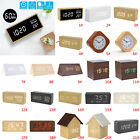Home Wooden Alarm Clock Wood USB/AAA Digital LED Calendar Thermometer Desk Decor
