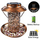 Solar Energy Bird Feeder Waterproof Garden Street Lamp Wild Hanging Bronze Metal photo