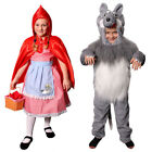 KIDS LITTLE RED RIDING HOOD & BIG BAD WOLF COSTUMES SCHOOL BOOK DAY FANCY DRESS