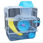 Double Layer Iron Wire Cage with Feeding Bowl Toy for Pet Hamster