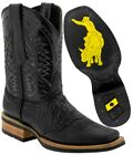 Mens Western Cowboy Boots Square Toe Crocodile Alligator Belly Pattern Leather