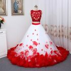 Bohemian Flower White Red Lace Tank Wedding Dresses Two Piece Beach Bridal Gown