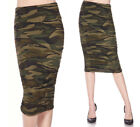 Women's Casual CAMO Print High Waist Stretch Midi Skirt Long Pencil Ruched Sides