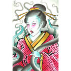 Geisha & Octopus by Samuel Gosson Watercolor Unframed Canvas or Art Print Poster