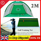 2M Foldable Golf Driving Practice Hitting Net Cage Home Garden Trainer Green UK