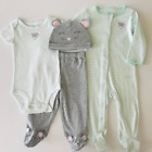 Carters 6 9 Months Mouse Mint Sleep & Play Gift Set Baby Girl Clothes Hat Pajama