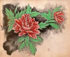 Botan in Two by Clark North Japanese Tattoo Fine Art Print Poster for Framing