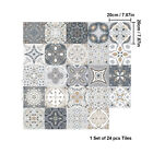 24pieces Moroccan Style Tile Effect Wall Stickers Kitchen Bathroom Self-adhesive