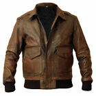 Mens-A2-Bomber-USAF-AIR-Force-Flight-Distressed-Brown-Cowhide-Leather-Jacket