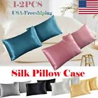 USA Soft Mulberry Silk Pillowcase Satin Pillow Cases Cushion Covers Home Bedding image