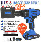 2020 Cordless Drill Set Electric Screwdriver Power Driver Kit 21V+Li-Ion Battery