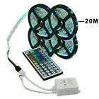 20M 66FT Flexible Strip Light 3528 RGB LED SMD Remote Fairy Lights Room TV Party