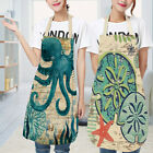 Marine Animals Printed Linen Apron Kitchen Cooking Bib Aprons For Adults/kids