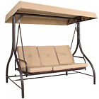 3-Seat Converting Outdoor Deck Patio Seating Canopy Swing Hammock Brown Red Tan