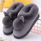 Women Winter Plush Bunny Rabbit Warm Indoor Slippers Slip On Soft Home Shoes New