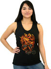 Harley-Davidson Ladies Flaming Fury Skull V-Neck Sleeveless Black Tank Top $9.99 USD on eBay