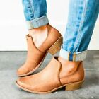 Womens Retro Pull On Block Boots Chunky Distressed Combat Cowboy Ankle Shoes