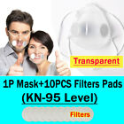 Clear Masks +10xfilters Anti-droplets Respirator Face Mouth Covers Reusable Mask