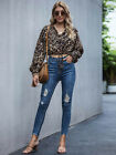 Summer Autumn New Style Women's Leopard Print Tops Fashion Lace-up Tops Trendy