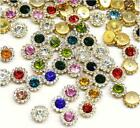 100Pcs Alloy Rhinestone Crystal Flowers for Crafts Sewing Wedding Supplies 10 mm