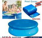 6/8/10Ft Round Swimming Paddling Pool Cover Inflatable Easy Fast Set Rope US New