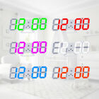 Modern Digital 3D LED Wall Clock USB Large Alarm Clock Snooze 12/24 Hour Display